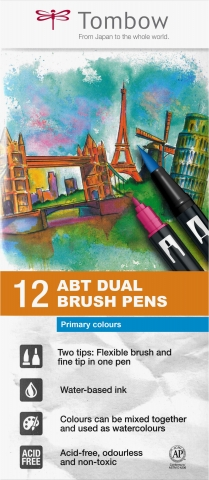 ABT Dual Brush Pen Set 12 Culori