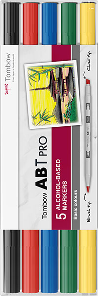 ABT Pro Dual Brush Pen Set 5 Culori